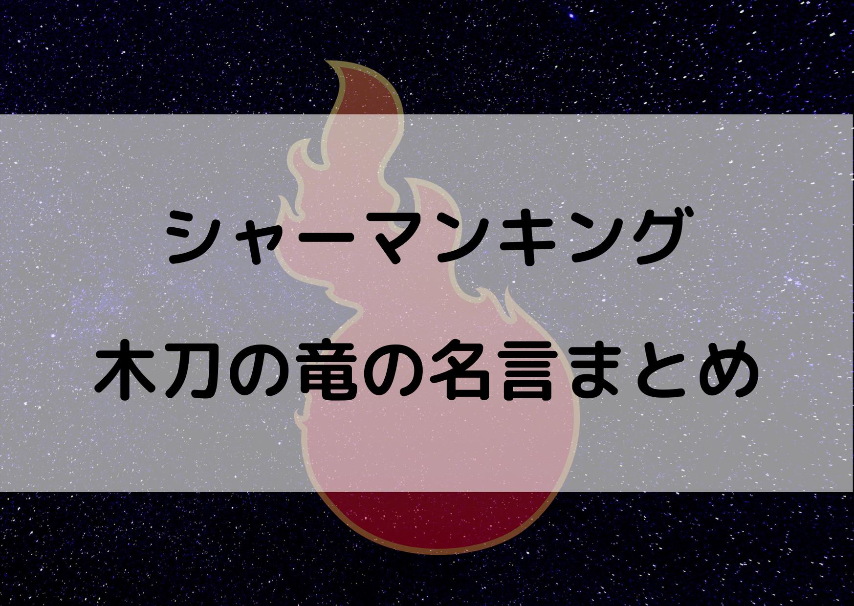シャーマンキング 木刀の竜 名言